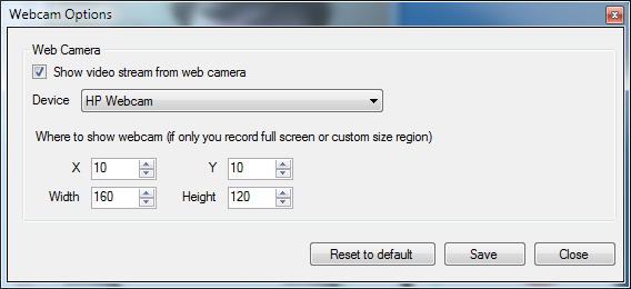Camtica Webcam Options